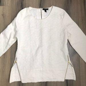 J Crew textured cream top size 6 side zippers